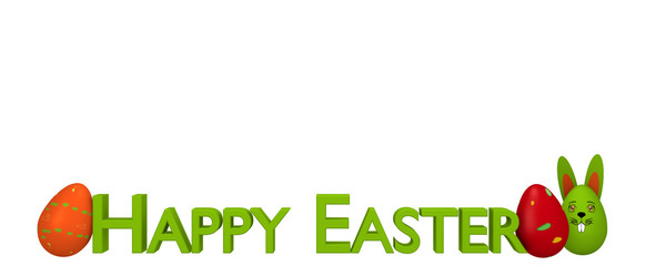 Spruchband mit bunten Ostereiern, Osterhasen und dem Text Frohe Ostern. 3d render