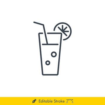 Lemonade Icon / Vector - In Line / Stroke Design
