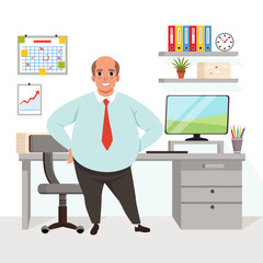 Fat bald man in office. Worker in formal clothing. Workplace with table, chair, computer, chart, graph, shelf with folders, flower, working papers on wall. Flat vector design