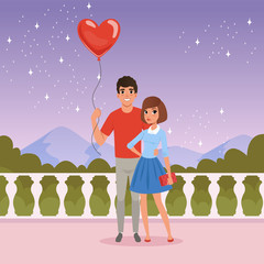 Romantic couple on the date. Man holding balloon in heart shape. Fence, starry sky, mountains and green bushes on background. Valentines Day. Cartoon flat vector design