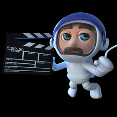 3d Funny cartoon astronaut spaceman making a movie in space