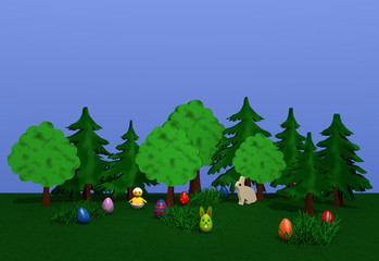 Osterlandschaft mit Häschen, bunten Eiern, Küken, bäumen und Büschen auf grüner wiese mit blauem Himmel. 3d render