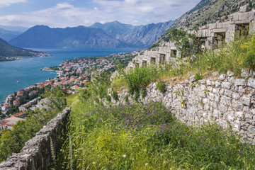 Remains of ancient town near St John Fortess in Kotor town, Montenegro