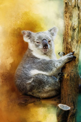 A cute painted koala sits on a tree trunk.