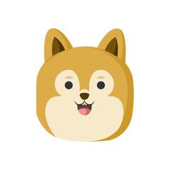 Cute Golden Hair Dog Animal Head Illustration