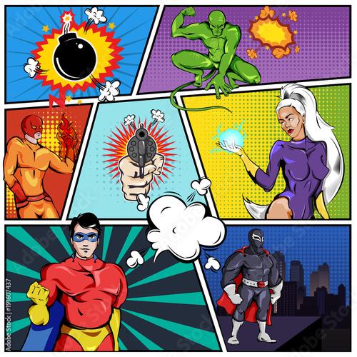 Superhero Template | Superheroes Comic Page Template Stockfotos Und Lizenzfreie Vektoren