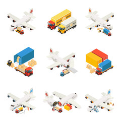 Isometric Air Logistics Elements Collection