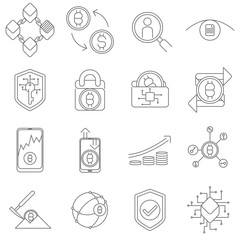 Cryptocurrency and Blockchain Icons and Symbols illustration