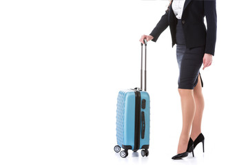 cropped image of stewardess with wheeled bag isolated on white