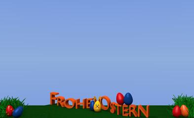 Osterlandschaft mit Osterhase, bunten Eiern, Grasbüscheln und dem Text Frohe Ostern in deutsch auf grüner wiese mit blauem Himmel. 3d render