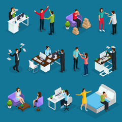 Isometric People And Stress Set