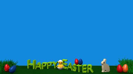 Osterlandschaft mit Häschen, Küken, bunten Eiern, Grasbüscheln und dem Text Frohe Ostern auf grüner wiese mit blauem Hintergrund. 3d render