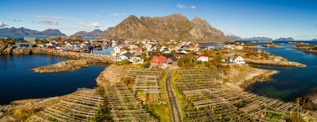 Wall Mural - Henningsvaer fishing village on Lofoten islands from above