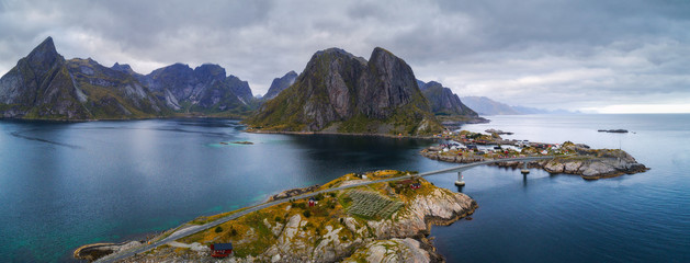 Wall Mural - Aerial view of fishing villages in Norway