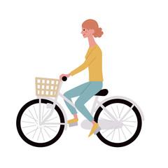 自転車 若い女性 イラスト