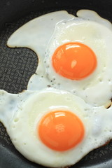 Aluminium Prints Egg frying pan and sunny side up fried egg