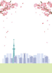桜 東京 イラスト