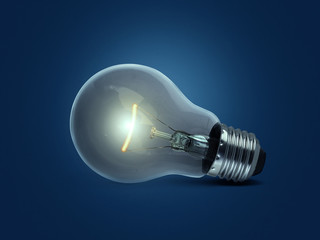 light bulb, on blue background