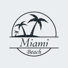 Icono plano Miami beach en fondo gris