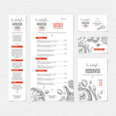 Restaurant menu template. Mexican food menu. Cafe identity.