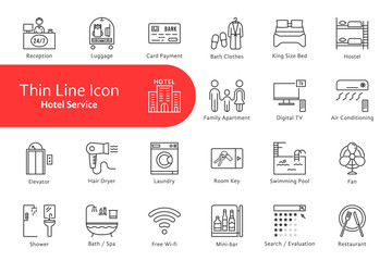 thin line icons set for hotel and home life