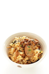 Japanese food, osyter rice with copy space