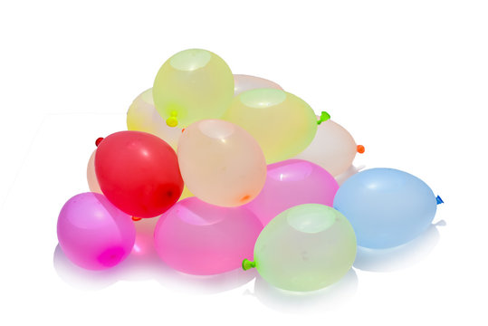 Colorful of water balloons for children plays.