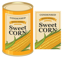 Vector illustration of tin can with a label for canned sweet corn with the image of a realistic corn cob