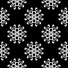 White floral seamless pattern on black background