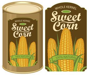 Vector illustration of tin can with a label for canned sweet corn with the image of three realistic corn cobs and calligraphic inscription