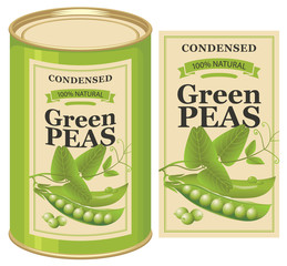 Vector illustration of tin can with a label for canned green peas with the realistic image of pea pods, tendrils and leaves