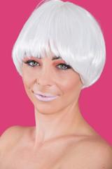 Confident model in white trendy wig