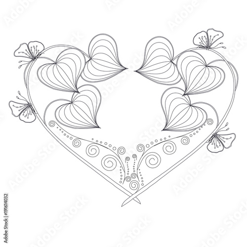 71e3271ccb911 Stylized floral monochrome heart, butterfly, sketch, design element stock  vector illustration for print, for tattoo