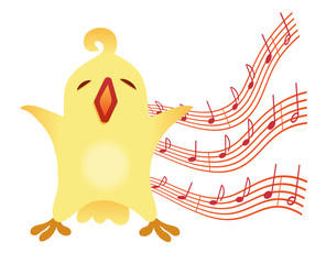 A little birdie sings Illustration for vocal lessons for children