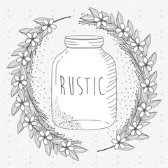 Wall Mural - Rustic glass jar with leaves hand drawn