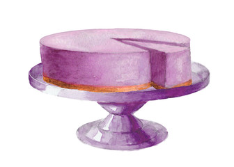 Watercolor stand with lavender cheesecake