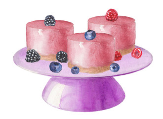 Watercolor stand with pink cakes with berries