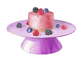 Watercolor stand with pink cake with berries