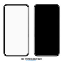 smartphone in black color with blank screen on white background. stock vector illustration eps10