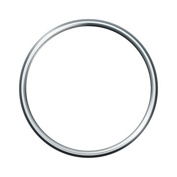Silver metal ring isolated on white background.