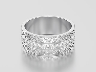 3D illustration white gold or silver decorative wedding bands carved out ring with ornament