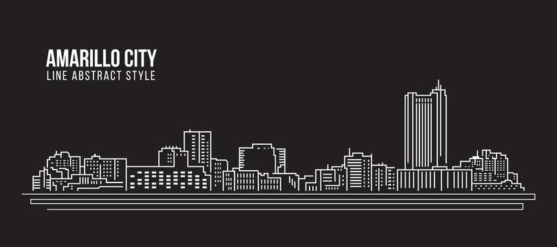 Cityscape Building Line art Vector Illustration design - Amarillo city