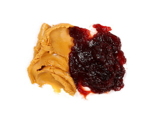 Peanut butter and cherry marmalade, jelly isolated on white background, top view