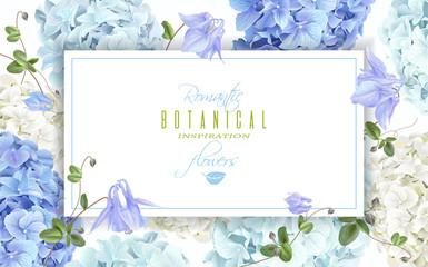 Hydrangea horizontal banner blue