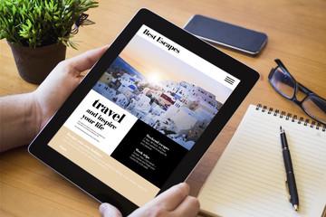 desktop tablet travel website