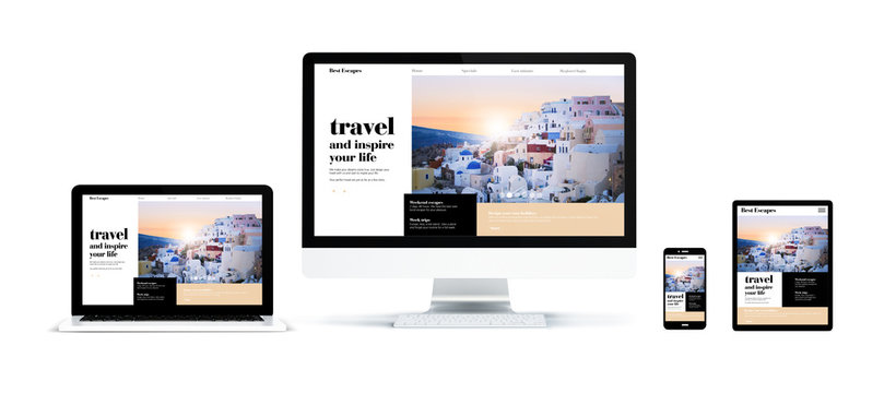 realistic devices isolated travel website