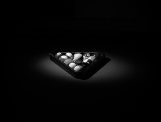 Snooker balls in the dark black and white