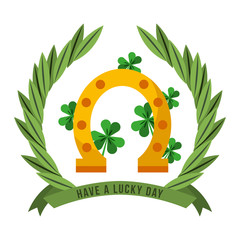 have a lucky day gold horseshoe clovers emblem