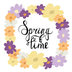 Colorful flower wreath spring lettering vector illustration