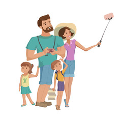 Family mother and little son selfie vector